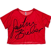NEW - Justin Bieber Signature Cropped T-Shirt