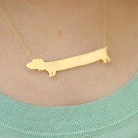 Dachshund Dog Golden Necklace, Dog Charm, Gold filled Necklace, a gift for animal lovers- Handmade- Free Shipping