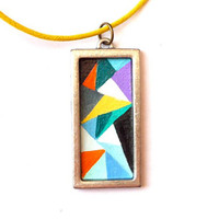 Geometric Abstract Design Pendant Hand Painted Modern-Colorful Shapes Spring Fashion