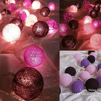 Purple Set Cotton Ball String Lights For Wedding and House decoration (20 Flowers/Set)