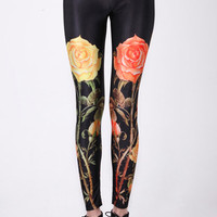 "ROMWE | ""Symmetrical Rose"" Black Leggings, The Latest Street Fashion"
