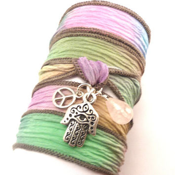 Bohemian Silk Ribbon  Wrap Bracelet with by charmeddesign1012