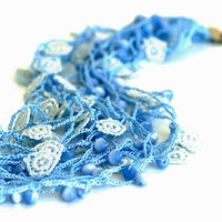 Crocheted Necklace in Blue and White by PinaraDesign on Etsy