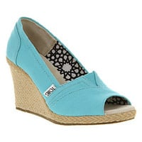 Toms WEDGE PEEPTOE AQUA CANVAS Shoes - Womens Mid Heels Shoes - Office Shoes
