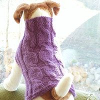 Dog Sweater Hand Knit  Lavender Cable Pure Wool Medium by jenya2