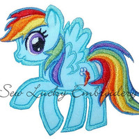 Rainbow pony Applique embroidered patch by sewluckyembroidery
