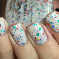 Oh Splat White Glitter Nail Polish with Rainbow by KBShimmer