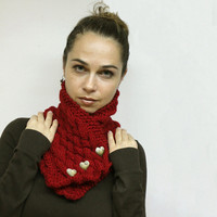 Cozy Neck Warmer  Red Classica  Warm Cowl Shawl by by Solandia