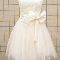 WowDresses — Fanscinating Ivory Lace A-line Sweetheart Mini Bowknot Prom Dress