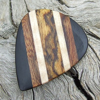 Multiple Woods Premium Guitar Pick - Handmade with Gabon Ebony-Chechen-Curly Maple-& Bocote