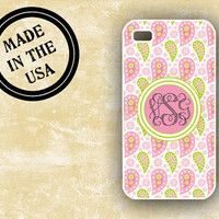 Paisley iPhone case - Spring pinks and greens - preppy monogram Iphone plastic case, iphone 5  (9952)