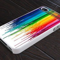 Melting Crayon Colorful - Print On Hard Cover For iPhone 4,4S