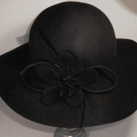 Black Wool Felt Hat by SewcialGraces on Etsy