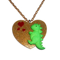 Kawaii T Rex Necklace, Gold Glitter Heart Green Dinosaur Necklace