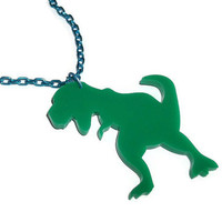 T Rex Necklace. Green Dinosaur, Laser Cut Acrylic Necklace