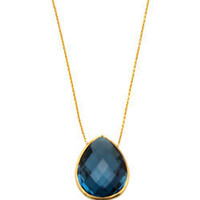 Max & Chloe - Tresor London Blue Topaz Pear Pendant Necklace - Max and Chloe