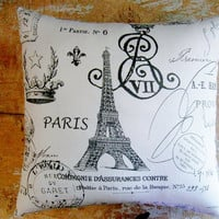 French Script Paris Pillow Eiffel Tower French by parismarketplace
