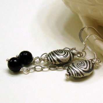 Black Onyx and Sterling Silver Earrings  by cooljewelrydesign