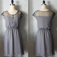 PETIT DEJEUNER in Charcoal - Gray chiffon dress with black lace inset // bridesmaid dress // little black dress // vintage inspired // party