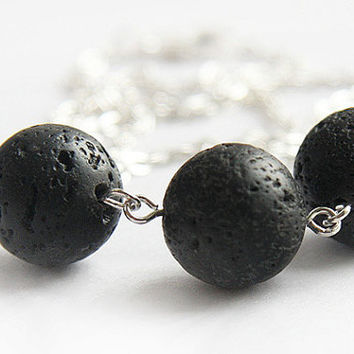 Santorini Black Lava Stone Necklace Silver Chain by KapKaDesign