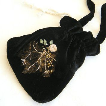 Elegant Evening Bag Vintage Style from black velvet for by Mintook