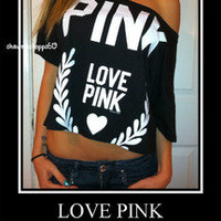 NWT*VICTORIA'S SECRET Black & White LOVE PINK CROP T SHIRT TOP M