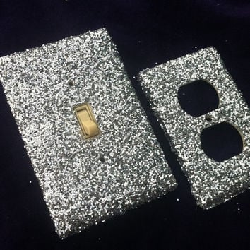 Platinum Silver Switchplate / Outlet Cover Set of Two