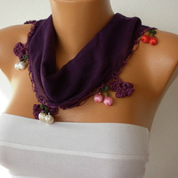 Dark Purple  Scarf Cotton Scarf Headband Woman by fatwoman on Etsy-h07