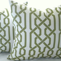 Green trellis Pillow Cover,  light grey with Samba Apple overlapping trellis design, 18x18 cover