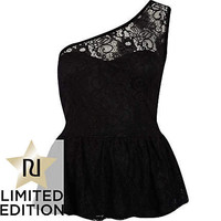 Black lace one shoulder peplum top - peplum tops - tops - women