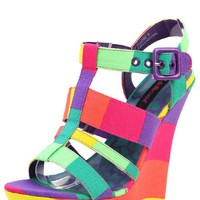 Dollhouse Electric Purple Multi Neon Colorblock Strappy Wedge Sandals and Shop Shoes at MakeMeChic.com