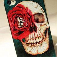 Cool Red Flower Skull Hard Cover Case For Iphone 4/4s