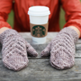 Hand knitted soft and warm mittens for women