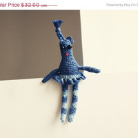 "ON SALE Zydre"" Crocheted blue linen doll - brooch - necklace"