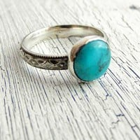Arizona Turquoise Sterling Ring Western Diamond Pattern Band