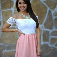 Oh That's Cute Dress: White/Coral | Hope's
