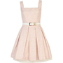 Pink jacquard belted box pleat prom dress - party / evening dresses - dresses - women