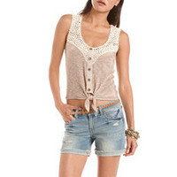 Tie-Front Crochet Trim Hacci Tank: Charlotte Russe