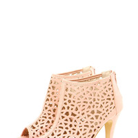 Sophia Cut Out Detail Peep Toe Shoe Boots