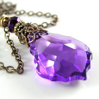 Purple Pendant Necklace Swarovski Baroque Purple by DorotaJewelry