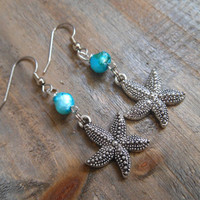 Silver Starfish Earrings - Starfish dangle earrings, Pearl Earrings
