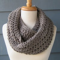 Warm Chunky Crochet Infinity Scarf Grey Handmade by ArtsyCrochet