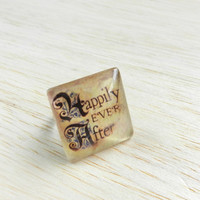 Adjustable Ring, Decoupage Jewelry, Statement Ring, Happily Ever After, Fairy Tale, Word Ring, Word Jewelry