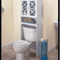 OVER THE TOILET SPACE SAVER CRISS CROSS CABINET WHITE WOOD BATHROOM STORAGE