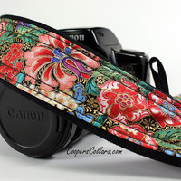 dSLR Camera Strap with Pocket, Florentine, Floral, SLR