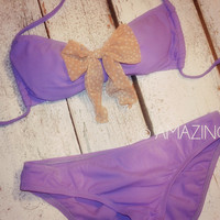 Purple Haven Bow Top Bikini Set