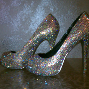 AB Rainbowlike Crystal Sparkle Shoes High Heels by sillydi on Etsy