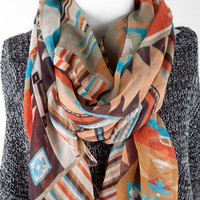 Natalie Aztec Print Scarf in Turquoise :: tobi