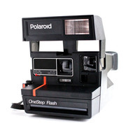 Vintage Polaroid Camera - Black 1980s OneStep Flash 600 Series - Empty Film Cartridge & Flash Tested / Instant Photography