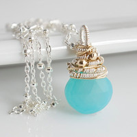 Chalcedony Pendant Necklace Wire Wrapped Necklace by Jewels2Luv